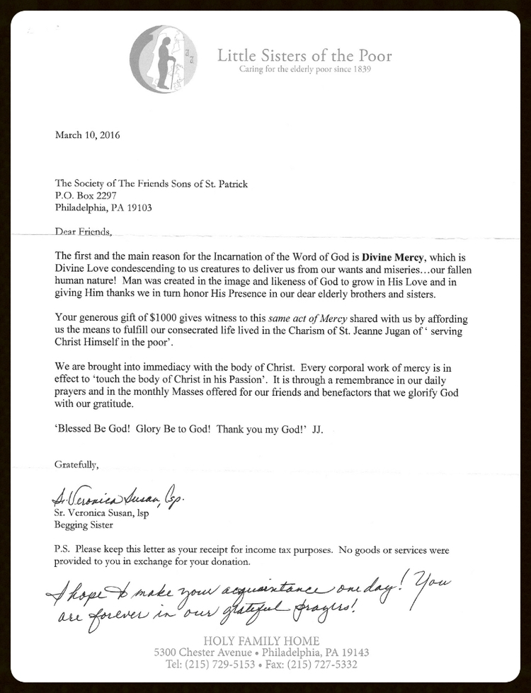 2016 Letters of Appreciation - The Society of The Friendly Sons of
